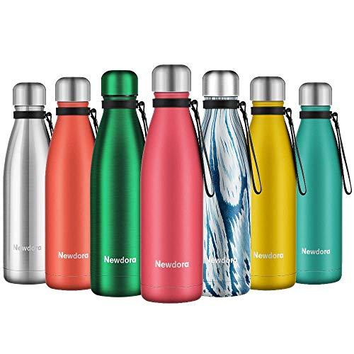 Newdora Botella de Agua Acero Inoxidable 500ml, Aislamiento de Vacío de Doble Pared, Botellas de Frío/Caliente, con 1 un Cepillo de Limpieza, para Niños, Deporte, Oficina, Gimnasio, Ciclismo, Rosa