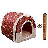 Casa Perro Gato 2 en 1, Cama Mascota Interior Grande o Pequeño, Lavable Plegable Portátil Nido de Viaje para Perros Grande/Medianos y Gatos (L:60cmx45cmx45cm, rojo)