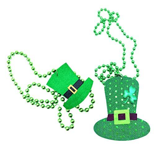 BESTOYARD St. Patrick's Day Hats Perlen Halsketten Kunststoffkappe Anhänger Irish Festvial Thema Halsketten Party Zubehör