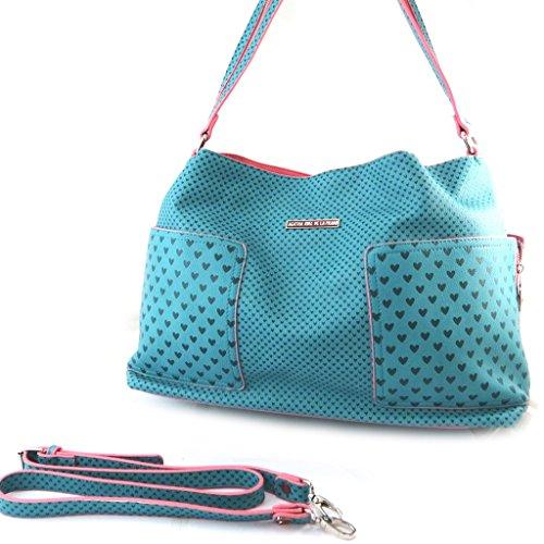 Agatha Ruiz de la Prada N4860 - Sac créateur turquoise - petits coeurs