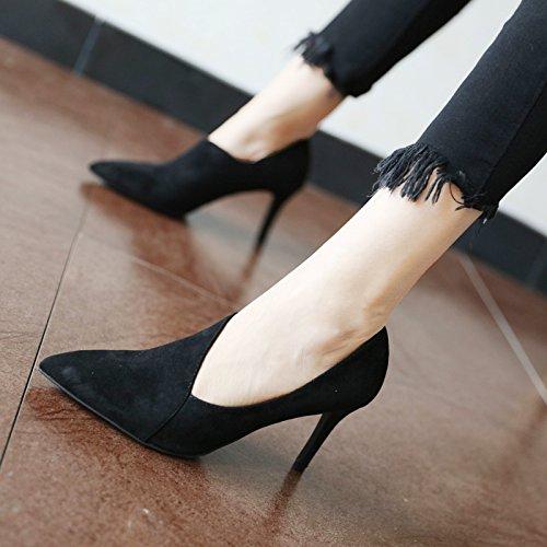 FLYRCX Personalità del mondo della moda di temperamento semplice lady singola calzatura primavera e autunno sharp tacco alto scarpe tacco B
