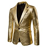 Zhhlaixing Herren Gentleman Mode blazer Slim Fit Lange Ärmel Coat Jacket Mantel Jacke Party Dance Nachtclub Gold Blazer glänzende Jacke