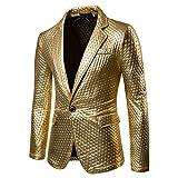 Zhhlaixing Herren Gentleman Mode blazer Slim Fit Lange Ärmel Coat Jacket Mantel Jacke Party Dance Nachtclub Gold Blazer glänzende Jacke