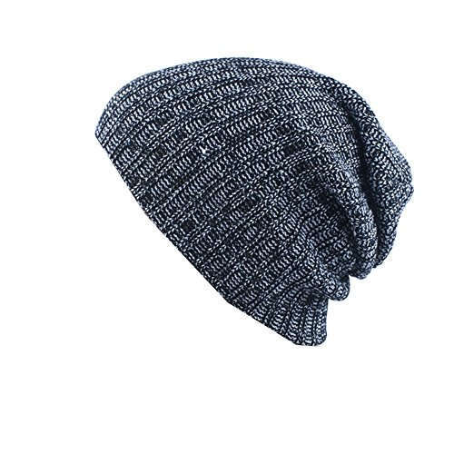 Z-P Men's Keep Warm Double Color Mixing Stripe Acrylic Knitted Hat In Winter (Sheer Neck Square)