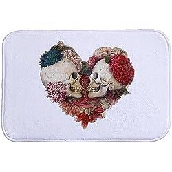 iHome Felpudo Halloween, Coral Terciopelo, 40cm x 60cm, Flores Calavera Cráneo Corazón (Color Blanco)