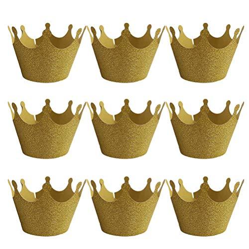 Yeahibaby involucro per cupcake e focaccina a forma di corona per matrimonio e festa 50pcs (oro)