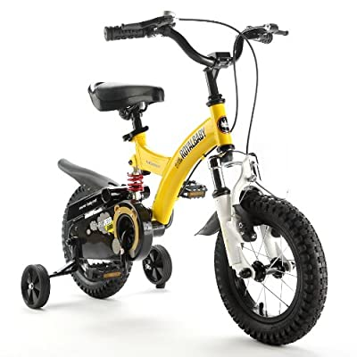 """ROYAL BABY FLYBEAR FREESTYLE BMX FULL FRONT FORK AND FRAME DUAL SUSPENTION KIDS BIKE IN COLOUR RED AND YELLOW, IN SIZE 12"""" 14"""" 16"""" free heavy duty adjustable removable stabilisers by Y & Y TOY STORE ON LINE"""