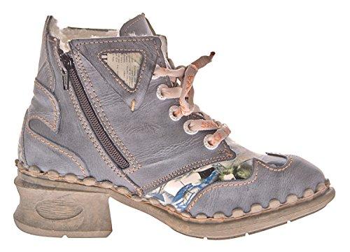 Leder Damen Winter Stiefeletten Comfort Knöchel Schuhe TMA 5171 Schwarz Weiß Blau Rot Boots gefüttert Grau