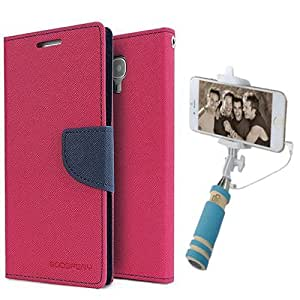 Aart Fancy Diary Card Wallet Flip Case Back Cover For HTC616 - (Pink) + Mini Aux Wired Fashionable Selfie Stick Compatible for all Mobiles Phones By Aart Store