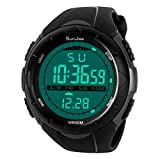 SunJas - Reloj de Pulsera Deportivo Digital para Hombre, Resistente al Agua (5 ATM), LCD, con Cronómetro, Cronógrafo, Fecha y Alarma, de Goma - Titanio