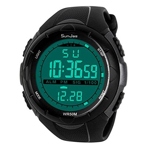 SunJas   Reloj de Pulsera Deportivo Digital para Hombre, Resistente al Agua (5 ATM), LCD, con Cronómetro, Cronógrafo, Fecha y Alarma, de Goma   Titanio