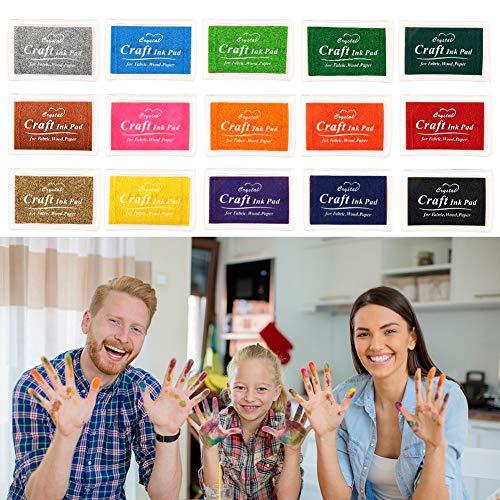 Woo Well Stempelkissen Fingerabdruck Set 15 Farben, Finger Stempelkissen Bunt Stamp Pad für Papier Handwerk Stoff, Fingerabdruck, Scrapbook, Malerei Hochzeit Kinder Geburtstags Gastgeschenke.