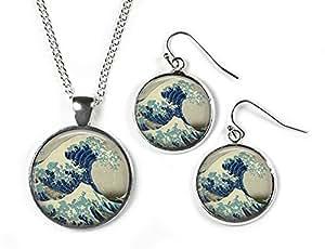Grande Vague–Hokusai–Cadre en verre Boutons de manchette–Plaqué Argent