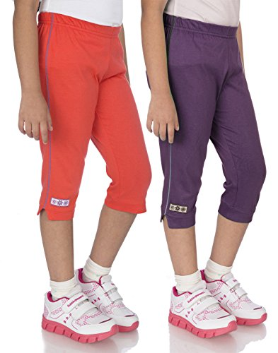 OCEAN RACE Girls Stylish attarctive colors Cotton Capris(3/4 th Pant)-Pack of 2-15164-8/9YRS