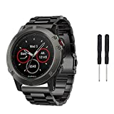 Tabcover Stainless Steel Strap Replacement Watch Bracelet With Tools For Garmin Fenix 5x