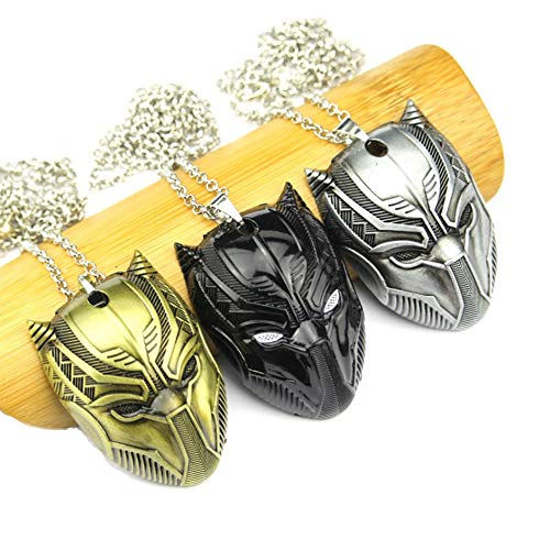 morningsilkwig Civil War Panther Maske Halskette 3PCS Cosplay Schmuck Pendant Halskette Superhelden Pendant Black Panther Halsketten Fashion Men Women Gift