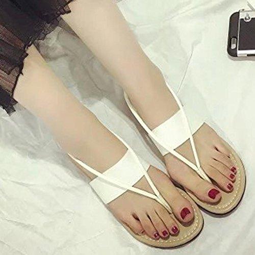 Transer® Damen Sandalen Flach Mode Einzigartig A-Gurt Toepost PU-Leder+Gummi Schwarz Weiß Sandalen (Bitte achten Sie auf die Größentabelle. Bitte eine Nummer größer bestellen) Weiß