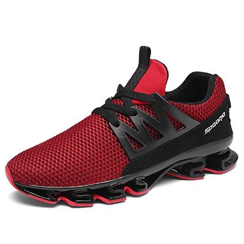 Ufatansy Unisex Herren Air Laufschuhe Trainer Mesh Breathable Turnschuhe für Multi Sport Athletic Jogging Fitness Wanderschuhe (12.5 UK, A-Red) Mesh-trainer