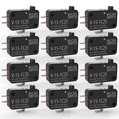 Gebildet 12 Piezas 125V/250V 15A Momentáneo Micro Interruptor V-15-1C25, Interruptor de límite SPDT 1 NO 1 NC, 3 Patillas Interruptor de Botón, Snap Action