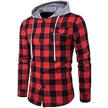 89540b5510 Blusa de Hombre BaZhaHei Camisetas de Cuadros Ocasionales de otoño de los  Hombres Camisa de Manga