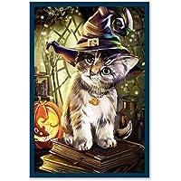 yunnuo Promi DIY 5d Diamond Painting de número Kits, Diamond bordado Gemälde hecho a mano para la decoración de hogar pared, bonitas de Halloween gato 11.81 x 15.75 inch