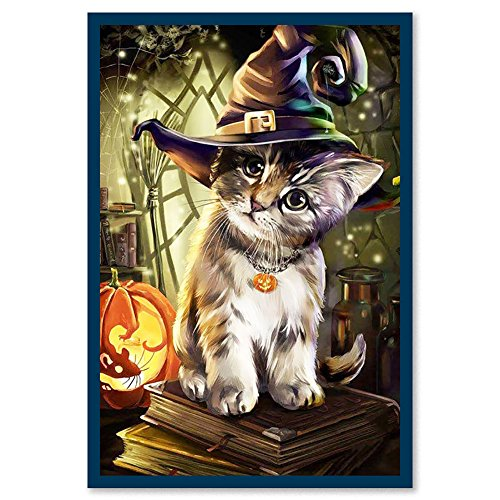 osmanthusFrag Fashion 5D Diamond Painting Cross Stitch Halloween Cat DIY Hand Craft Wall Decor Gift 6452 (Painting Halloween Crafts)