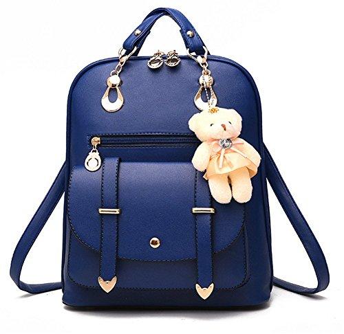 yaagle coreano PU Borsa a tracolla grande capacità semplice borsa da viaggio con decorazione a forma di orso per donna e ragazza, blu scuro (Blu) - 532163249740-Dark blue