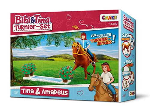 CRAZE BIBI & TINA Turnier-Set Spielfiguren Pferdefiguren Tina und Amadeus mit Zubehör  Spielzeug 14639