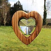 Fensterdeko Herz groß zum Aufhängen | Bleikristall mit Holz | Herzkristall | Regenbogenkristall | Sonnenfänger | Fenster Deko