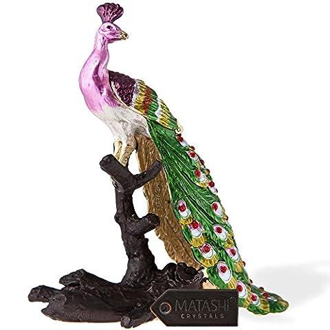 Regal paon peint à la main sur un Perchoir en forme/Boîte à bijoux à motif en Or 24K et de haute qualité Cristaux par matashi, doré, Peacock