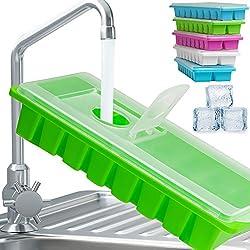Eiswürfelform | 5X Eiswürfelbehälter | mit Deckel | wiederverwendbar | je 16 Fach | Eiswürfelbereiter | einfach befüllbar