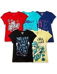 Cherokee Girls' Plain Regular Fit T-Shirt (Pack of 5)