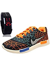 Bavis Men's COMBO Running Shoes With LED Watch Bracelet Adjustable Band - SCRATCH-LESS Display