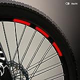 Motoking Fahrrad-Reflektorenaufkleber - Rot - 22 Aufkleber im Set - Breite: 10 mm - reflektierende Felgenaufkleber für Mountainbike-, Fahrradfelgen & mehr