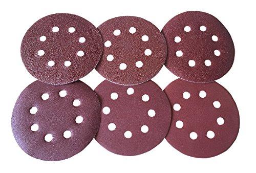 LISSEK 60 Stück Schleifscheiben Klett-Schleifpapier Ø 125 mm,(40/60/80/120/180/240 Körnung) Exzenter-Schleifer 8 Loch