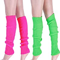 Leg Warmers - Ankle Warmers For Women, Boots Cuff Warmer Ribbed Stretch Knee Leg Socks, Ladies Girls 80s Party Club Neon Fancy Dress Leg Accessories