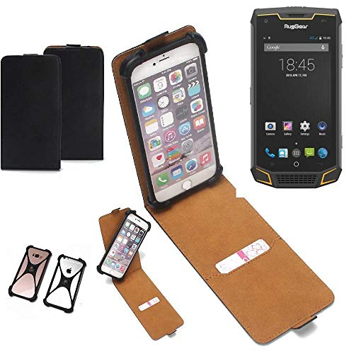 K-S-Trade Flipstyle Case für Ruggear RG740 Schutzhülle Handy Schutz Hülle Tasche Handytasche Handyhülle + integrierter Bumper Kameraschutz, schwarz (1x)