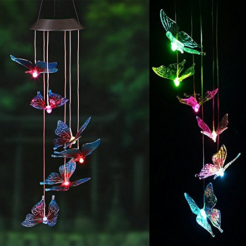 Hinmay Solar Wind Chimes, Kunststoff wechselnde Farbe LED-Solar-Windspiel Automatischer Sensor Garten-Spinner im Lampen für Home Party Dekorationen -