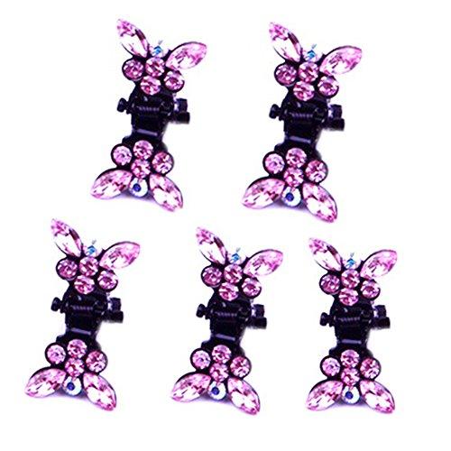 Belle papillon bijoux Filles Clips Mini cheveux, 5 compter, Rose