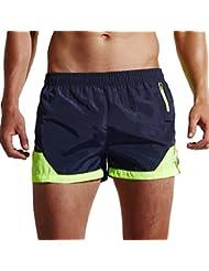 GenialES Pantalones Cortos para Hombre con Bolsillos con Cremallera Secado Rápido para Playa Surf Natación Correr