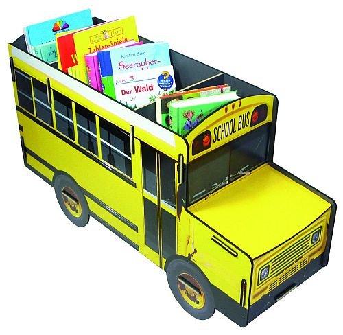 Werkhaus - Buecherbus (Buecherregal) Spielzeugaufbewahrungsbus ..., Schulbus in gelb/schwarz, Maße:...