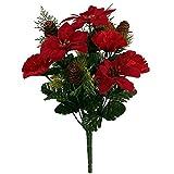 Künstlicher Strauß mit roten Weihnachtssternen & Tannenzapfen, 2 x 30 cm, Weihnachtsschmuck