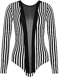 Womens Black Mesh Insert Panel BodySuit Ladies Contrast Stripe Sexy Leotard Body Suit Bodies Top 6 8 10 12 14