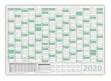 Green Wandkalender/Wandplaner 2020 - gefaltet DIN A1 Format (594 x 841 mm) mit 14 Monaten, kompletter Jahresvorschau Folgejahr und Ferientermine/Feiertage aller Bundesländer