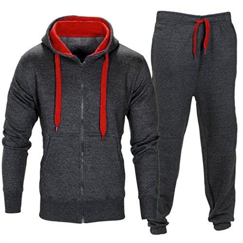 ❤️Ensemble de survêtement Homme , Amlaiworld Veste manteau à capuchon + Jogging pantalons sport survêtement Set Pantalons extensibles (L, Gris profond)