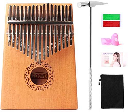 SZRWD Kalimba Daumenklavier 17 Schlüssel, Marimba Daumen Schutz, Finger Klavier/Daumenklavier/Kalimba Instrument mit Musikbuch, Stimmhammer, Tragetasche, Musikaufkleber usw.