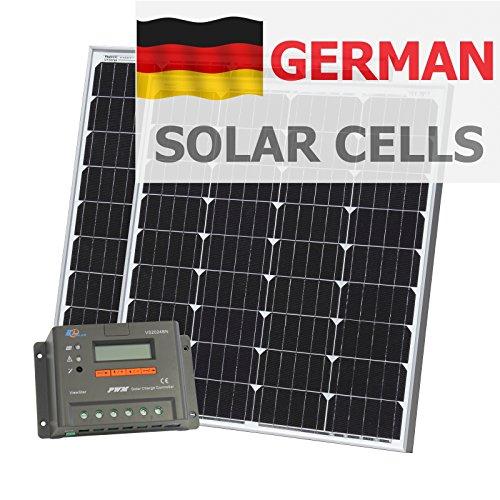 160W (80+ 80) Photonic Universe Solar Ladekabel Kit aus Deutsch Solar Zellen mit Advanced 20A Controller mit LCD Display und 5m Kabel für Wohnmobil, Wohnwagen, Boot oder 12/24V Akku-System