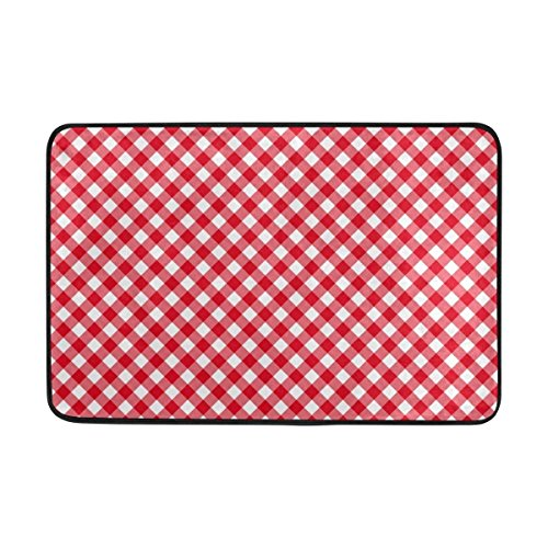 Carpet Classic Red Plaid Gingham Checkered Doormat 15.7 x 23.6 inch, Living Room Bedroom Kitchen Bathroom Decorative Lightweight Foam Printed Rug Indoor Door mats Green Rug (Boot Dodger)