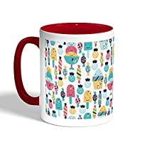 Printed Coffee Mug, Red Color, Desserts fees