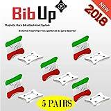 BIBUP 3.0 -- 5 Coppie Sistema Magnetico Fissaggio Pettorali da Gara (BANDIERA ITALIANA)